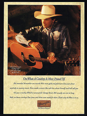 1993 George Strait Photo Country Music Wrangler Jeans Shirt Vintage Print Ad