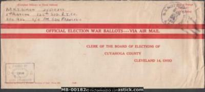USA 1944 (October) Military Official Election War Ballots Cover Morotai to Ohio