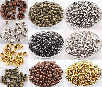 Metal Round Ball Spacer Bead Gold Silver Bronze Copper Black 2.4/3/4/5/6/8mm