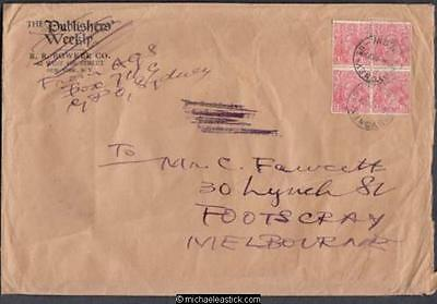 Australia 1927 (Oct) Block 4 KGV Cover Sydney to President Comm Spec Stamp Soc
