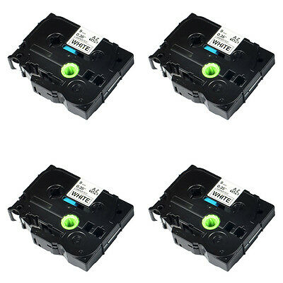 4PK TZ-221 TZe 221 9mm For Brother P-Touch Black on white Label Tape 0.35''