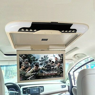 """Vehicle 13"""" Smart Car Monitor Flip Down Roof Mounted Wide Screen Monitor Beige"""