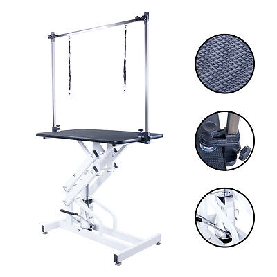 BTM Dog Pet Hydraulic Grooming Table Portable Adjustable Height Arm Non Slip