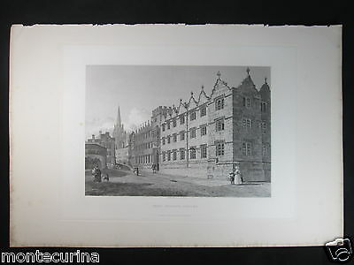 1839 OXFORD Oriel college engraving animated view antique print england E13