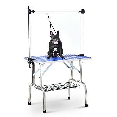 BTM Folding Dog Pet Grooming Bath Table Adjustable Height Arm Non Slip Top 36""