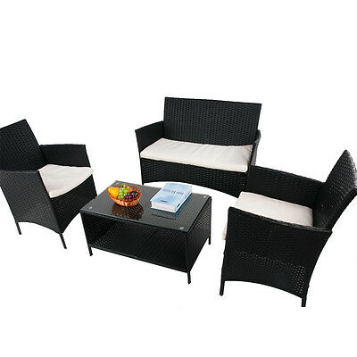 Rattan Garden Furniture Set Outdoor Table Chairs Sofa Patio Conservatory Black