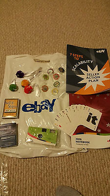 eBay LIVE! 2006 Las Vegas PINS (7) FUZZY CRITTERS (4) USPS CARDS BAG CAMERA