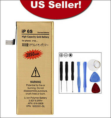 2850mAh High-Capacity Gold Replacement Battery For Apple iPhone 6S + 8in1 Tools