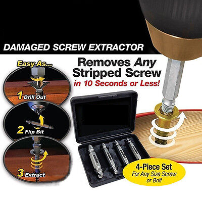 4 Pcs Double Side Bolt Screw Extractor Drill Removal Glitzy Screw Remover