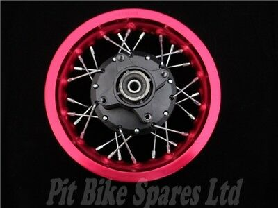 """10"""" Red Alloy Rear Wheel For Pit Bike. 90mm/65mm/12mm Axle"""