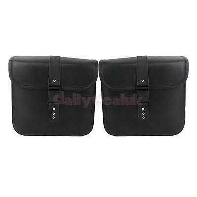 Pair MOTORCYCLE MOTORBIKE SADDLE BAGS LUGGAGE STORAGE PU LEATHER POUCH BLACK