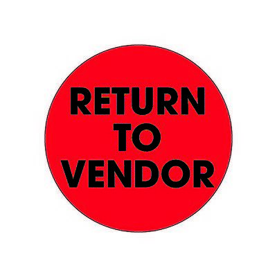 """""""Tape Logic Labels, """"""""Return To Vendor"""""""", 2"""""""" Circle, Fluorescent Red, 500/Roll"""""""