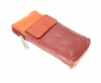 High Quality Soft Leather Spectacle / Glasses Case Holder - RED
