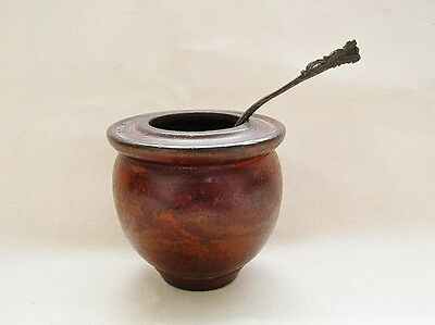Antique Chinese Brush Wash Wood with Spoon 中国清朝笔洗
