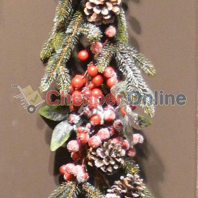 180cm Luxury Christmas Garland with Berries & Pine Cones - Frosted
