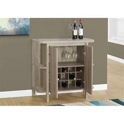 MonarchSpecialties 36 in. H, Home Bar With Bottle And Glass Storage Dark Taupe