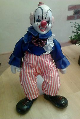 Clown Doll vintage with porcelain head hands and boots with stand rare