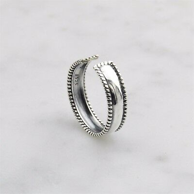 925 Sterling Silver Simple Rope Edged Boho Toe ring
