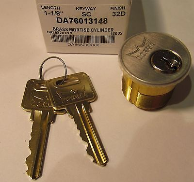 """New Dorma 1-1/8"""" Mortise Lock Cylinder/ Core Sc Brass/ 32D Stainless Steel"""