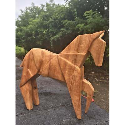 Fairtrade Carved wooden Abstract War Horse Statue