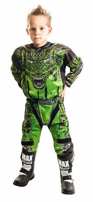 New Wulfsport Green Kids Motocross Pant + Jersey Trousers Youth Child Quad Shirt