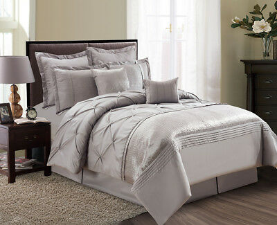 12 Piece Aubree Pinched Pleat Taupe Bed in a Bag Set
