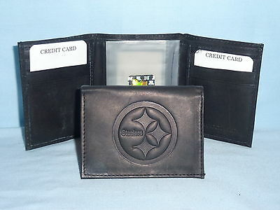 PITTSBURGH STEELERS   Leather TriFold Wallet   NEW   black 3