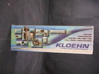 Norgen KLOEHN Glass 1000uL 1mL 1cc Pump Syringe 25413 Boxed - Use with V6 Pump
