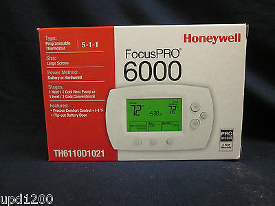 HONEYWELL FocusPRO 6000 5-1-1 PROGRAMMABLE THERMOSTAT-TH6110D1021