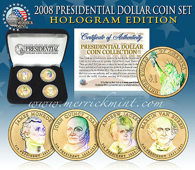 2008 U.S. MINT HOLOGRAM PRESIDENTIAL $1 DOLLAR COINS w/BOX *COMPLETE SET OF 4*
