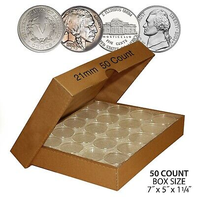 NICKEL Direct-Fit Airtight Airtite A21 Coin Capsule Holders For NICKELS (QTY 50)