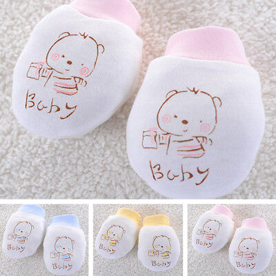 Cute Baby Newborn Anti scratch Mittens Soft Breathable Gloves Unisex Warm Cotton