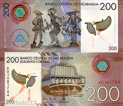 NICARAGUA 200 Cordobas Banknote World Money Currency Polymer p214 Note BILL
