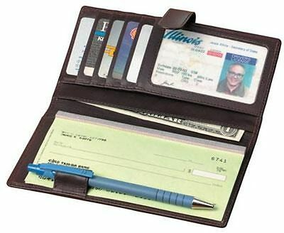 Winn International Leather Deluxe Checkbook Wallet - Black