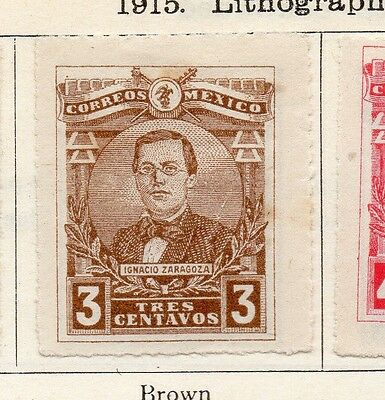 Mexico 1915 Early Issue Fine Mint Hinged 3c. Imperf 074498