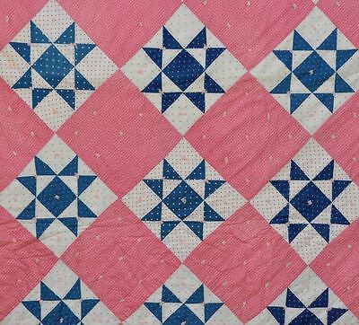 1880-1900 Sweetest Cinnamon Pink Ohio Star Antique Vintage Quilt- Near Perfect!