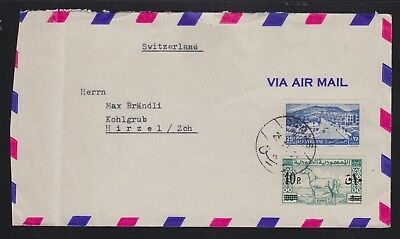 Syria 19(?) Airmail Cover Damascus To Hirzel Switzerland