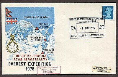 Uk 1976 Everest Expedition Cover 'expedition Departs Uk' British Forces Cancel