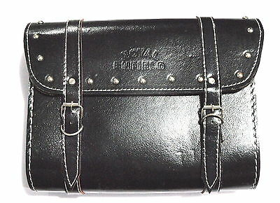 Royal Enfield Black Saddle Leather Bag With Fitting Strips