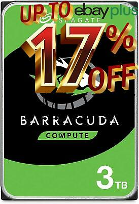 "Seagate BarraCuda 3TB HDD 3.5"" SATA Internal Desktop Hard Drive 5400RPM 256MB"