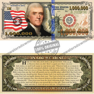 100 x American Patriotic $1 Million Dollar Bill Gospel Tract Note Currency Money