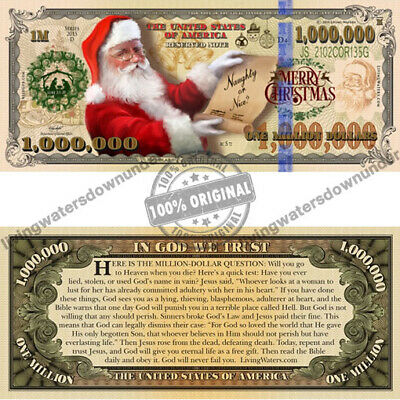 100 x American Christmas $1 Million Dollar Bill Gospel Tract Note Currency Money