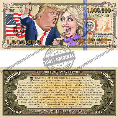 100 x US Presidential $1 Million Dollar Bill Gospel Tract - Note Currency Money