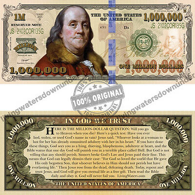 100 x US American $1 Million Dollar Bill Gospel Tract - Note Currency Money New