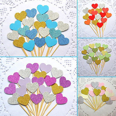 Sweet Love Wedding Heart Cupcake Toppers Picks Decoration Party Birthday Decor