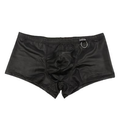 Stretchy Ring Men's Shorts Trunk PU Leather Clubwear Boxer Low Rise Underwear