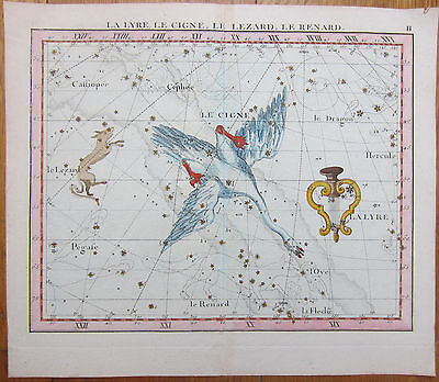 Flamsteed Original Handcolored Celestial Map Swan Lyra Fox Astronomy - 1790