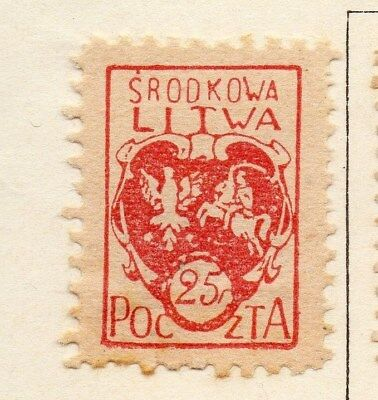 Lithuania (Central) 1920-21 Early Issue Fine Mint Hinged 25f. 074639