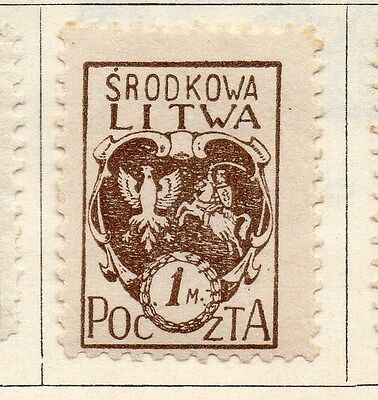 Lithuania (Central) 1920-21 Early Issue Fine Mint Hinged 1m. 074643