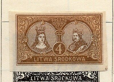 Lithuania (Central) 1921 Early Issue Fine Mint Hinged 4m. Imperf 074659